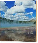 Puffy Clouds And Hot Springs Wood Print