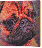 Pug 20130126v2 Wood Print
