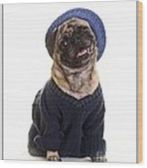 Pug In Sweater And Hat Wood Print