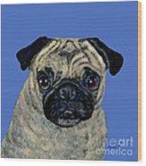 Pug On Blue Wood Print
