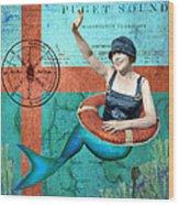 Puget Sound Mermaid  Wood Print