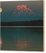 Puget Sound Moonrise Wood Print
