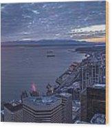 Puget Sound Sunset Illumination Wood Print