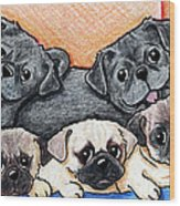 Pugs Party Of Five Wood Print