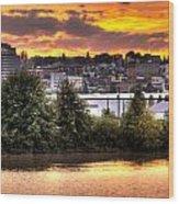 Pulallup River Sunset II Wood Print