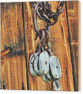 Pulley Hooks And Chain Wood Print