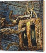 Pulley Wood Print by Sari Sauls