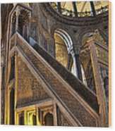 Pulpit In The Aya Sofia Museum In Istanbul  Wood Print by David Smith