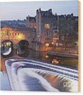 Pulteney Bridge And Weir Bath Wood Print