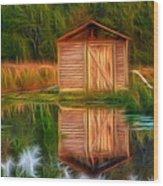 Pump House Reflection Wood Print