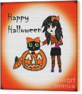 Pumpkin And Halloween Cat Wood Print