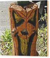 Pumpkin Carved Stump Wood Print