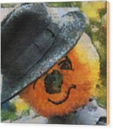 Pumpkin Face Photo Art 06 Wood Print