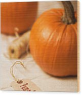 Pumpkin Label Wood Print