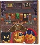Pumpkin Masquerade Wood Print