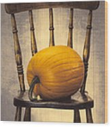 Pumpkin On Chair Wood Print