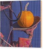 Pumpkin On Tractor Seat Wood Print