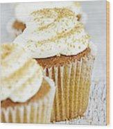 Pumpkin Spice Cupcake With Cream Cheese Icing Wood Print
