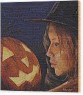 Pumpkin Witch Wood Print