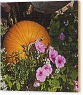 Pumpkin With Purple Flowers Wood Print