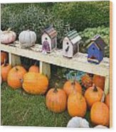 Pumpkins And Birdhouses Wood Print