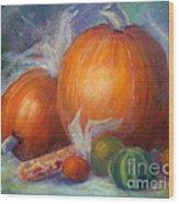 Pumpkins And Corn Wood Print