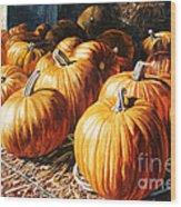 Pumpkins In The Barn Wood Print