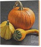 Pumpkins On A Slate Plate Wood Print by Palatia Photo