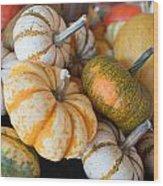 Pumpkins On Pumpkin Patch Wood Print