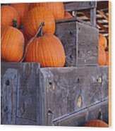 Pumpkins On The Wagon Wood Print by Kerri Mortenson