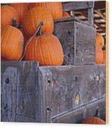 Pumpkins On The Wagon Wood Print