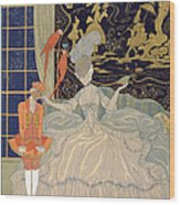 Punishing The Page  Wood Print by Georges Barbier