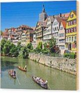 Punts On River Neckar In Lovely Old Tuebingen Germany Wood Print