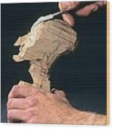 Puppet Being Carved From Wood Wood Print