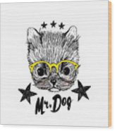 Puppy And Yellow Glasses Illustration Wood Print