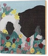 Puppy Stops To Eat The Flowers Wood Print