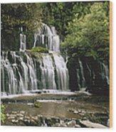 Purakaunui Falls And Tropical Wood Print