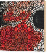 Pure Passion 2 - Stone Rock'd Red And Black Art Painting Wood Print by Sharon Cummings
