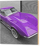 Purple 1968 Corvette C3 From Above Wood Print