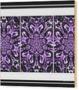 Purple Abstract Flower Garden - Kaleidoscope - Triptych Wood Print