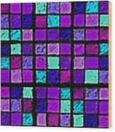 Purple And Aqua Sudoku Wood Print