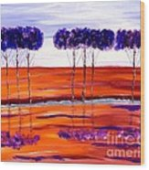 Purple And Blue Trees Abstract Wood Print
