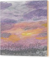 Purple And Gold November Sunset In West Michiganwatercolor Wood Print