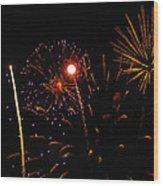 Purple And Gold Stars Wood Print by Marissa Farra