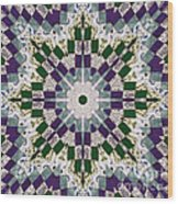 Purple And Green Patchwork Art Wood Print