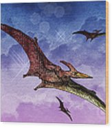 Purple And Green Ptreodactyls Soaring In The Sky Wood Print