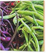 Purple And Green String Beans Wood Print