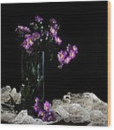 Purple And Lace Wood Print by Diana Angstadt