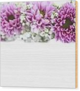 purple and mauve Flower frame on white  Wood Print