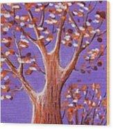 Purple And Orange Wood Print